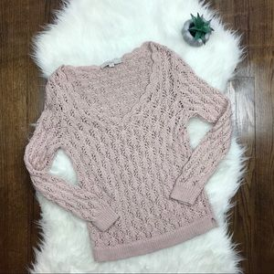 Ann Taylor LOFT Light Pink Loose Knit Sweater